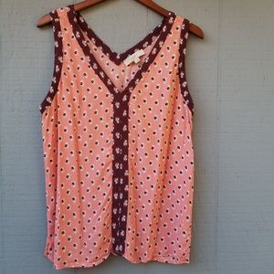 Loft Dotted Blouse Tank Pink Maroon Rayon Floral L